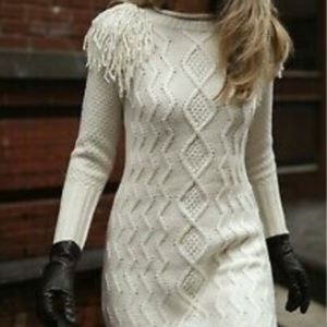 Eliza J Cream Knit Sweater NWOT size L